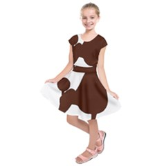 Poodle Brown Silo Kids  Short Sleeve Dress