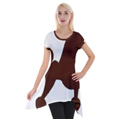 Poodle Brown Silo Short Sleeve Side Drop Tunic