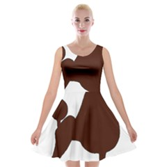 Poodle Brown Silo Velvet Skater Dress