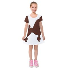 Poodle Brown Silo Kids  Short Sleeve Velvet Dress