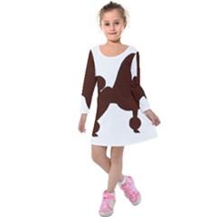 Poodle Brown Silo Kids  Long Sleeve Velvet Dress