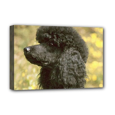 Poodle Love W Pic Black Deluxe Canvas 18  x 12