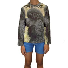 Poodle Love W Pic Black Kids  Long Sleeve Swimwear