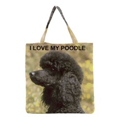 Poodle Love W Pic Black Grocery Tote Bag