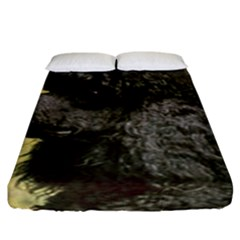 Poodle Love W Pic Black Fitted Sheet (King Size)