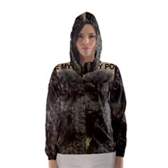 Poodle Love W Pic Black Hooded Wind Breaker (Women)
