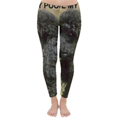 Poodle Love W Pic Black Classic Winter Leggings