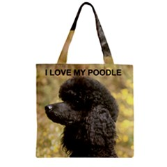 Poodle Love W Pic Black Zipper Grocery Tote Bag