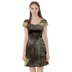 Poodle Love W Pic Black Short Sleeve Skater Dress