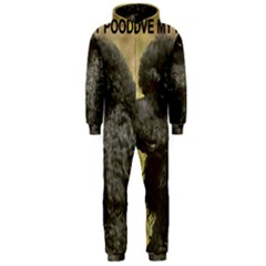 Poodle Love W Pic Black Hooded Jumpsuit (Men)