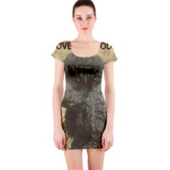 Poodle Love W Pic Black Short Sleeve Bodycon Dress