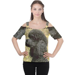 Poodle Love W Pic Black Women s Cutout Shoulder Tee