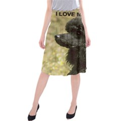 Poodle Love W Pic Black Midi Beach Skirt