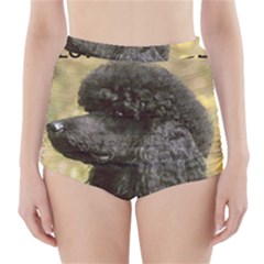 Poodle Love W Pic Black High-Waisted Bikini Bottoms