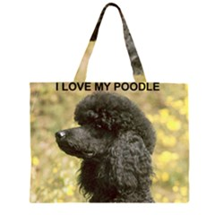 Poodle Love W Pic Black Large Tote Bag