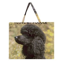 Poodle Love W Pic Black Zipper Large Tote Bag