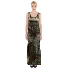 Poodle Love W Pic Black Maxi Thigh Split Dress