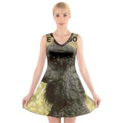 Poodle Love W Pic Black V-Neck Sleeveless Skater Dress