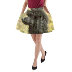 Poodle Love W Pic Black A-Line Pocket Skirt