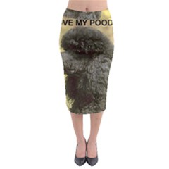 Poodle Love W Pic Black Midi Pencil Skirt