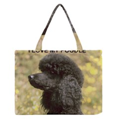Poodle Love W Pic Black Medium Zipper Tote Bag