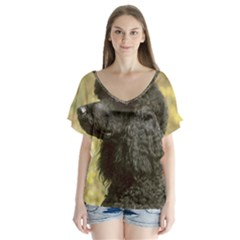 Poodle Love W Pic Black Flutter Sleeve Top