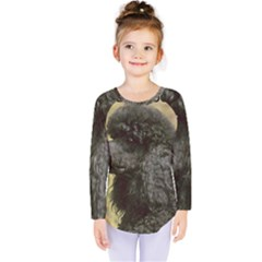 Poodle Love W Pic Black Kids  Long Sleeve Tee