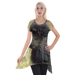 Poodle Love W Pic Black Short Sleeve Side Drop Tunic