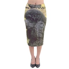Poodle Love W Pic Black Velvet Midi Pencil Skirt