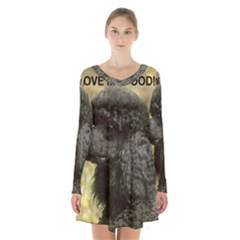 Poodle Love W Pic Black Long Sleeve Velvet V-neck Dress