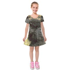 Poodle Love W Pic Black Kids  Short Sleeve Velvet Dress