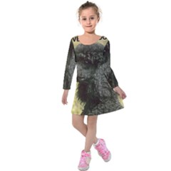 Poodle Love W Pic Black Kids  Long Sleeve Velvet Dress