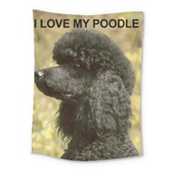 Poodle Love W Pic Black Medium Tapestry
