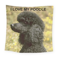 Poodle Love W Pic Black Square Tapestry (Large)