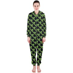 St Patrick S Day Background Hooded Jumpsuit (ladies)