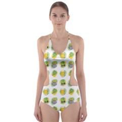 St Patrick S Day Background Symbols Cut Out One Piece Swimsuit