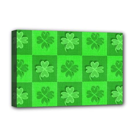 Fabric Shamrocks Clovers Deluxe Canvas 18  x 12