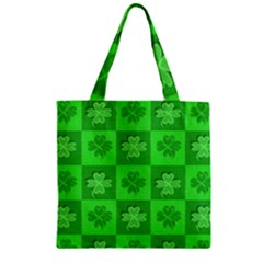 Fabric Shamrocks Clovers Zipper Grocery Tote Bag