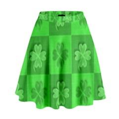 Fabric Shamrocks Clovers High Waist Skirt