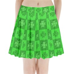 Fabric Shamrocks Clovers Pleated Mini Skirt