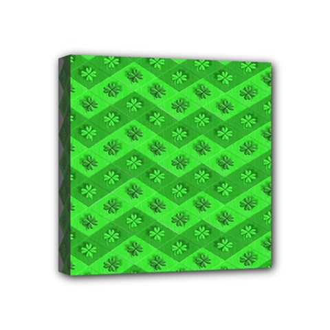 Shamrocks 3d Fabric 4 Leaf Clover Mini Canvas 4  X 4