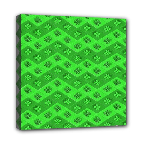 Shamrocks 3d Fabric 4 Leaf Clover Mini Canvas 8  X 8