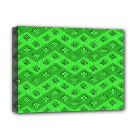 Shamrocks 3d Fabric 4 Leaf Clover Deluxe Canvas 16  x 12