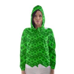 Shamrocks 3d Fabric 4 Leaf Clover Hooded Wind Breaker (Women)