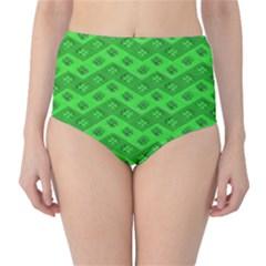 Shamrocks 3d Fabric 4 Leaf Clover High Waist Bikini Bottoms