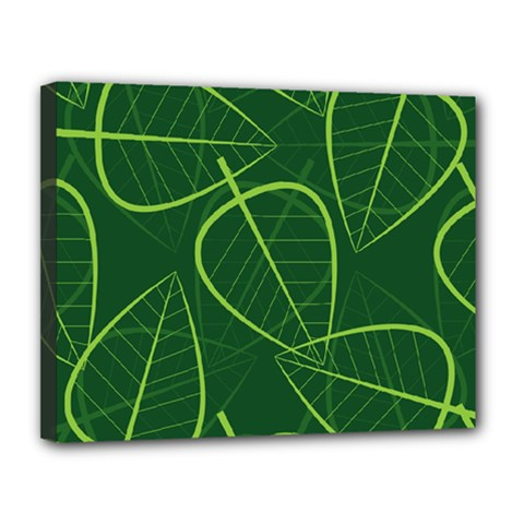 Vector Seamless Green Leaf Pattern Canvas 14  X 11