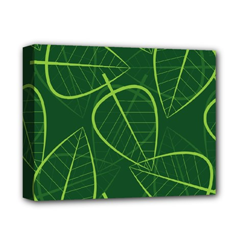 Vector Seamless Green Leaf Pattern Deluxe Canvas 14  x 11