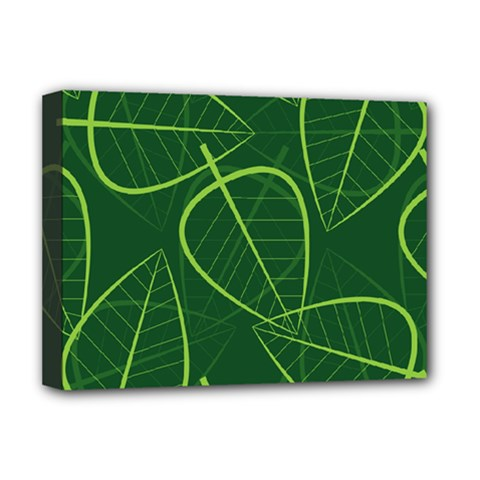 Vector Seamless Green Leaf Pattern Deluxe Canvas 16  X 12