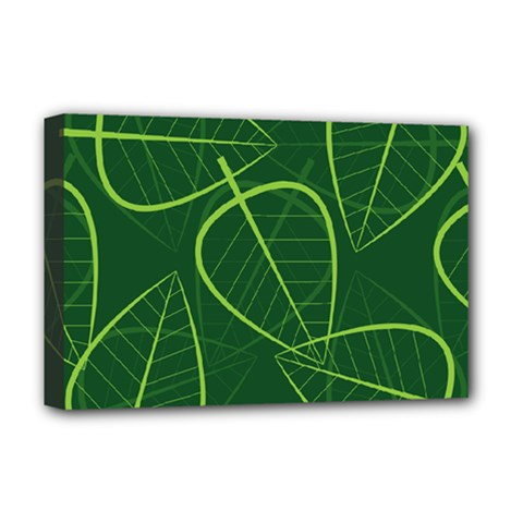 Vector Seamless Green Leaf Pattern Deluxe Canvas 18  x 12