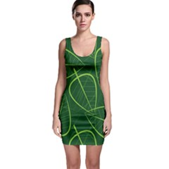 Vector Seamless Green Leaf Pattern Sleeveless Bodycon Dress